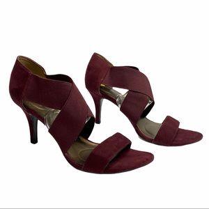 Bandolino Strapy Pep toe heeled sandals burgundy 9
